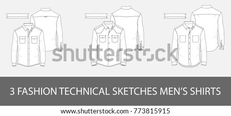 3 Fashion technical sketches men's shirt with long sleeves and patch pockets in vector.