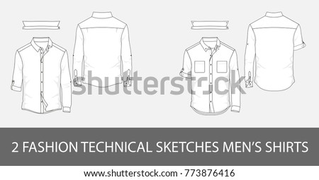 2 Fashion technical sketches men's shirts with long sleeves and patch pockets in vector.
