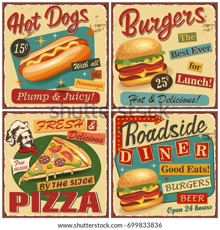 Fast food vintage vector poster collection.Retro Diner,burger,hot dog,pizza metal sign. Сток-фото ©