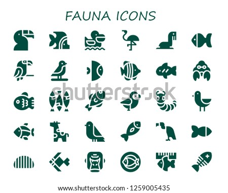 fauna icon set. 30 filled fauna icons. Simple modern icons about  - Toucan, Fish, Pelican, Flamingo, Sea lion, Parrot, Bird, Hermit crab, Caterpillar, Giraffe, Vulture, Gorilla