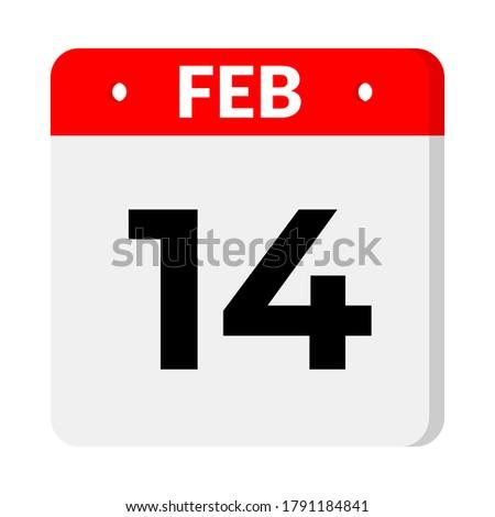 14 February calendar icon, vector illustration