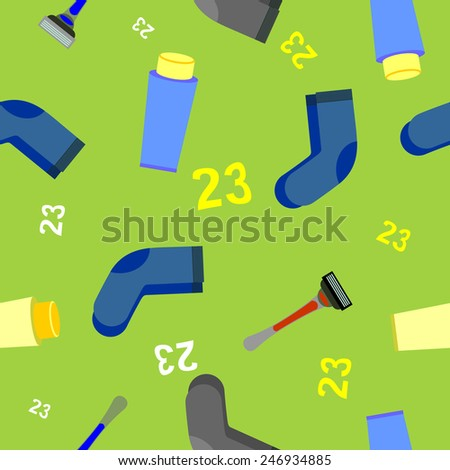 23 February. Defender of the Fatherland Day. Russian holiday. Seamless background. Ornament holiday socks, razor, shaving cream.