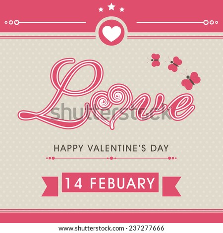 14 February, Happy Valentine\'s Day celebration vintage love greeting card with heart shape and butterflies.