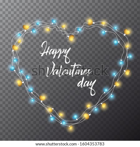 14 february Happy Valentines Day. Vector stock illustration with realistic 3d shining blue, gold lamp lights effect. Illuminated garlands on transparent background. Magic shine heart string bulbs.