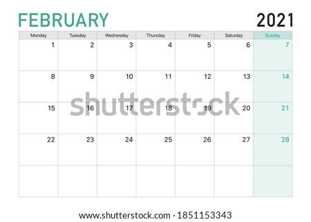 2021 February illustration vector desk calendar weeks start on Monday in light green and white theme