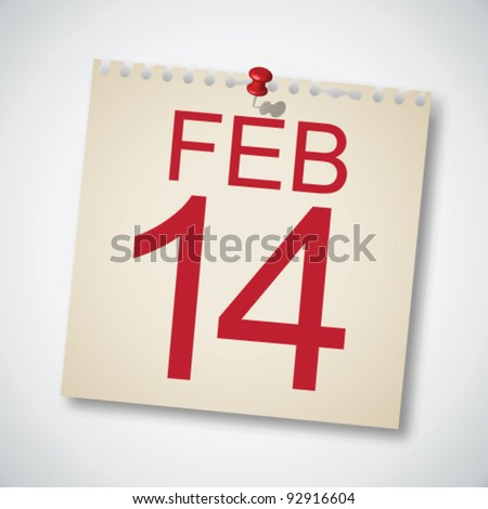 14 February on Note Paper Vector