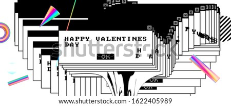 14 february Valentines Day love background with trendy modern glitch art, retro wave, 80s error window aesthetics and bauhaus elements for sale banner or invitation. Vector illustration