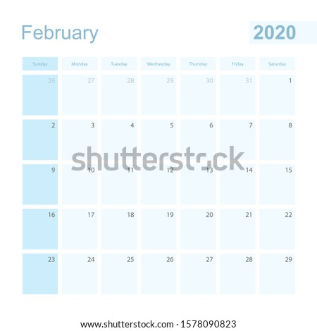 2020 February wall planner in blue color, week starts on Sunday. Calendar for February 2020 with day of previous and next month.