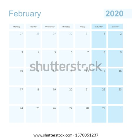 2020 February wall planner in blue pastel color, week starts on Monday. Calendar for February 2020 with blue square and with day of previous and next month.