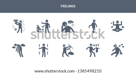 10 feelings vector icons such as lovely human, lucky human, mad human, meh miserable contains motivated nervous nostalgic ok old feelings icons