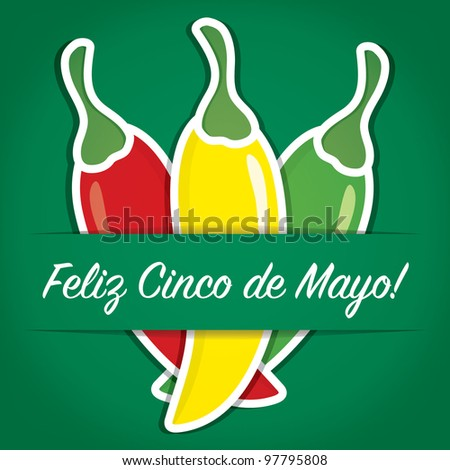 """Feliz Cinco de Mayo"" (Happy 5th of May) paper cut out card in vector format."