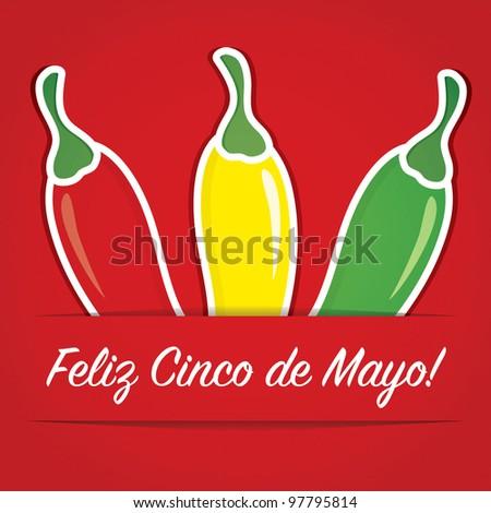 """""""Feliz Cinco de Mayo"""" (Happy 5th of May) paper cut out card in vector format. - stock vector"""