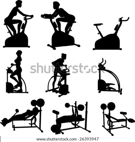 Female Exercise Vector Silhouettes