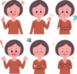 Female facial expression set illustration