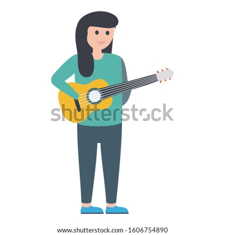 Female guitarist, girl guitarist Vector Illustration icon which can be easily modified