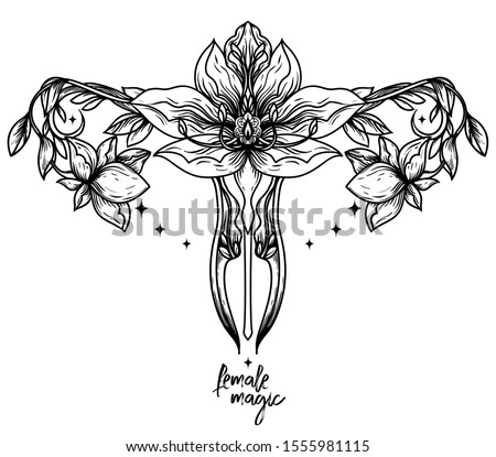 `Female magic` poster with symbol of uterus and lotus flowers, female sacral symbols, can be used for tattoo, vector illustration