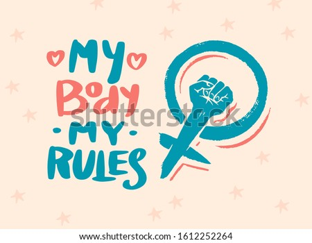 Feminism slogan in vintage style. Girl power and body positive concept. Motivational Quote. Women s rights. Lettering phrase. Sticker for posters and cards. Doodle icon. Hand drawn sketch. Foto stock ©
