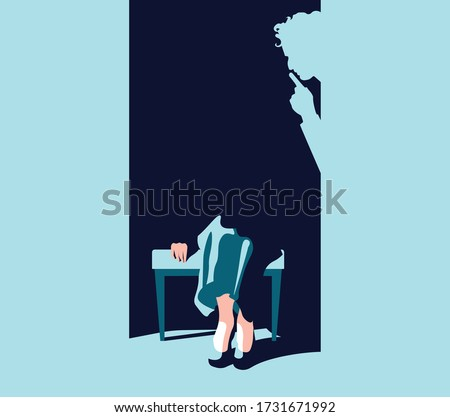 Feminism - Violence Against Women - Women Rights - shadow of man shutting up woman Stock photo ©