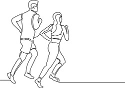 Figure continuous line group of couple man and woman jogging. Concept fitness club, healthy lifestyle, lazy athletics. Logo