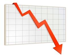Financial crisis. Screen arrow graph down