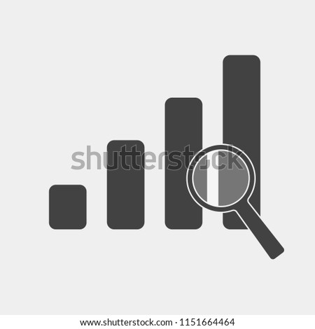 Financial graph and magnifier vector illustration. Financial business forecast chart on gray background. Layers grouped for easy editing illustration. For your design.