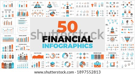 50 Financial Infographic Templates for your Presentation. Perfect for your Business Project. Includes elements charts, graphs diagrams and reports. Info graphic data.