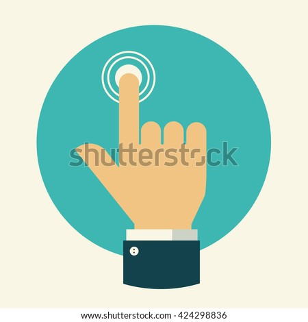Finger  touch technology.Touch icon . Hand touch isolated. Finger presses. Hand touch digital. Hand click icon. Flat design. Vector illustration. #424298836