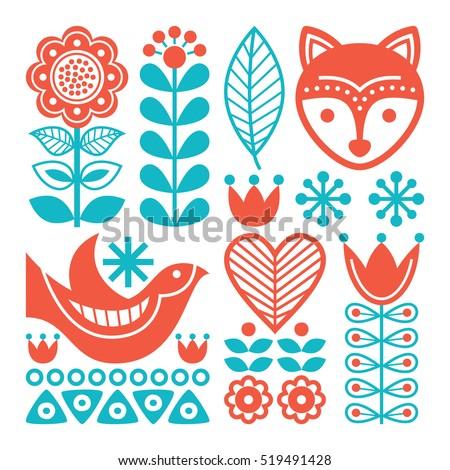 Finnish inspired folk art pattern - Scandinavian, Nordic style  Photo stock ©
