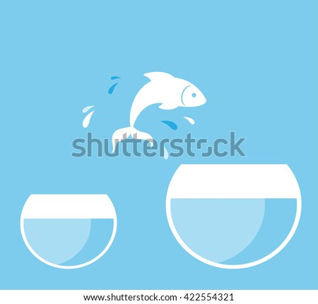 fish jumping from glass
