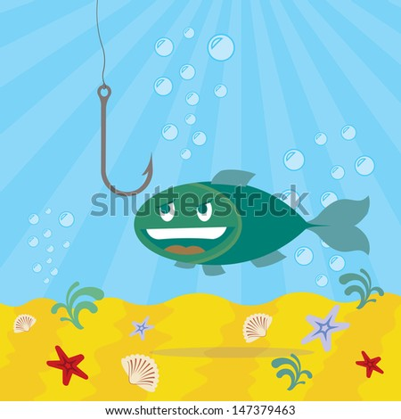fish looking on a fishhook, underwater background