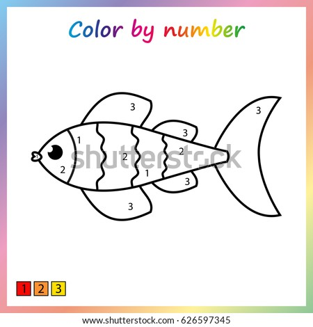 fish - painting page, color by numbers. Worksheet for education. Game for preschool kids.