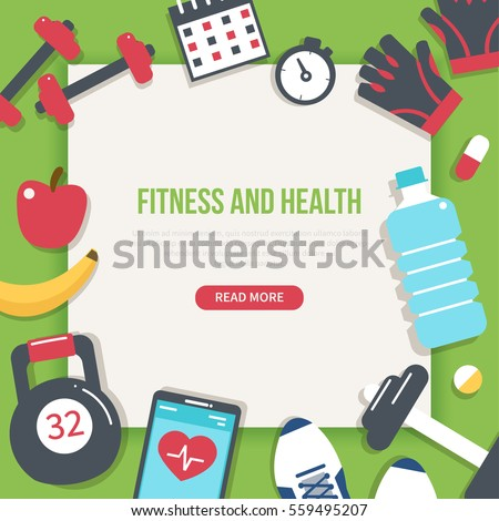 Fitness and health banner. Modern flat vector icons.