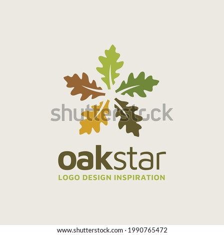 5 five pointed star with oak