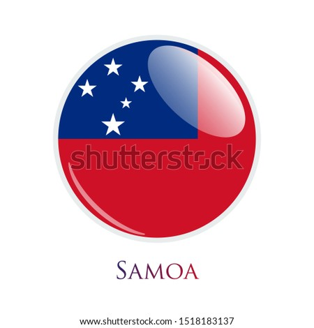 Flag Illustration Within A Circle Of The Country Of Samoa isolated on white. Samoa glossy round button. Vector Illustration EPS 10.