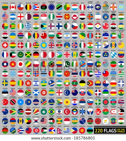 220 Flags of the world, circular shape, flat vector illustration #185786801