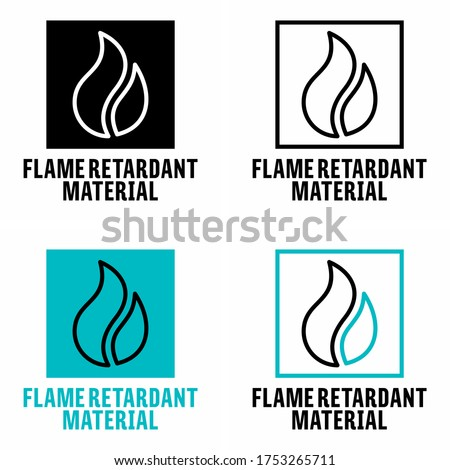 'Flame retardant material' fire resistant fabric information sign Сток-фото ©