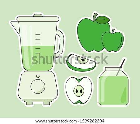 Сет стикеров Flat blender в монохроме. Смузи и гипоаллергенное детское пюре из зеленых яблок Сток-фото ©