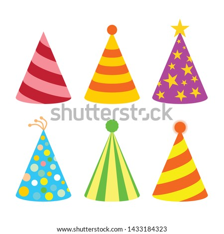 flat cartoon design illustration of colored hat for party celebration birthday set template.  vector - illustration