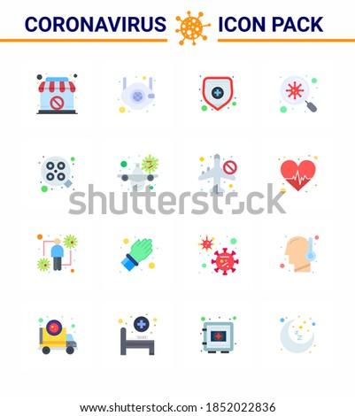 16 Flat Color Coronavirus disease and prevention vector icon operation; scan; n; virus; bacteria viral coronavirus 2019-nov disease Vector Design Elements Stock fotó ©