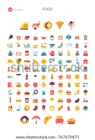 110 flat design icons. Food, drink, cooking, restaurant and more.