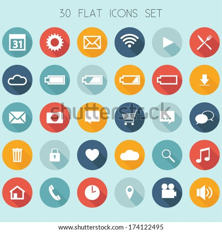 30 Flat Design Icons - Web, Mobile, App - vector EPS10