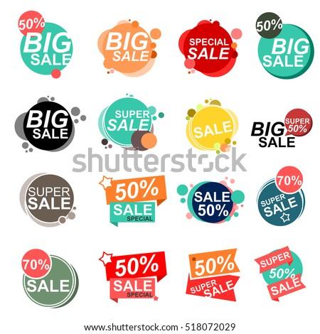 Flat design sale stickers. Vector