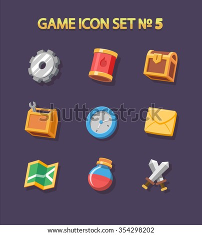 flat game icons  and elements