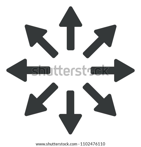 8 flat gray arrows in all directions from center