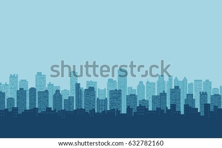 flat icon design of silhouette city skyline, Cityscape in blue color sky background