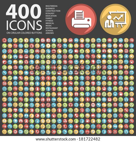 400 Flat Icon on Circular Colored Buttons.