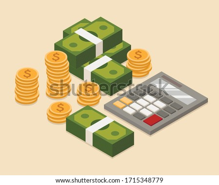 Flat isometric illustration of money with calculator. Image fo your business