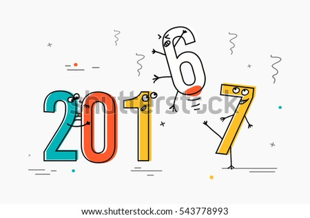 2017 flat line design concept for greeting card and banner. Funny cartoon interpretation to the outgoing 2016. vector illustration isolated on white background