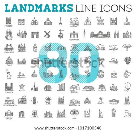 80 Flat line design style vector illustration icons set and logos of top tourist attractions, historical buildings, towers