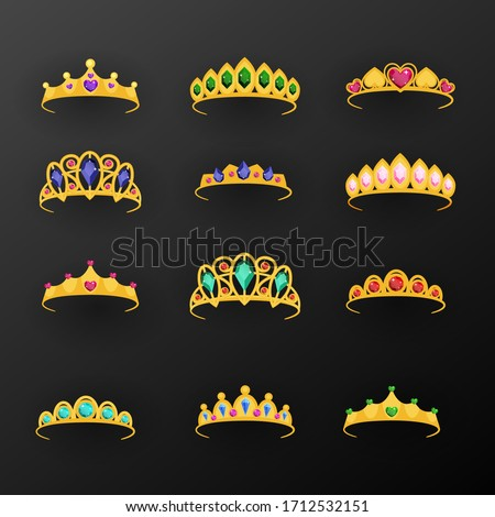 Flat princess tiara collection. Vector illustration. Сток-фото ©